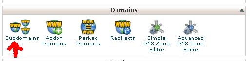 domains tab in cPanel
