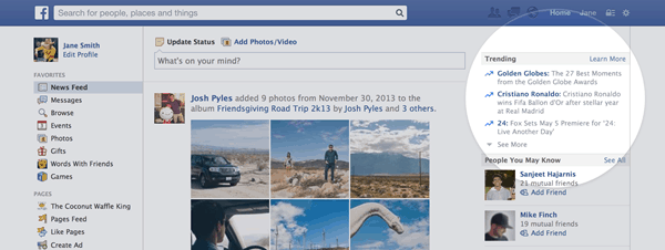 facebook popular trending topics feature