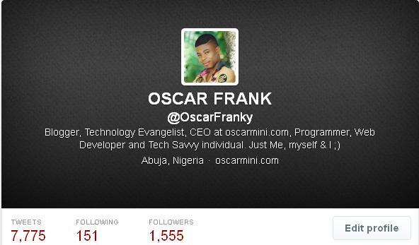 Oscar Frank Twitter Profile
