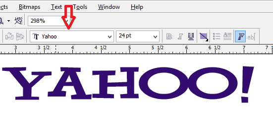 corel draw using the installed font