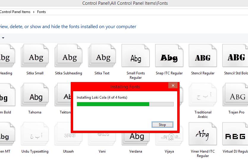 fonts installation in progress